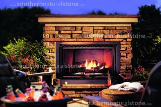 outdoor stone fireplace, southern stone, texas