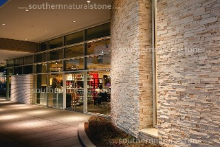 Outdoor commercial building stone wall, texas