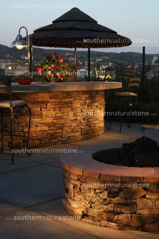cultured stone wall, texas